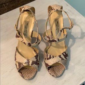Skin ankle strap wedge high heels